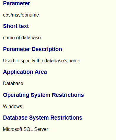 Profile Parameters for ODBC DBSL