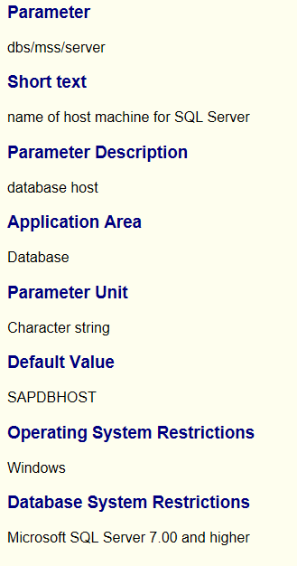 Profile Parameters for ODBC DBSL server
