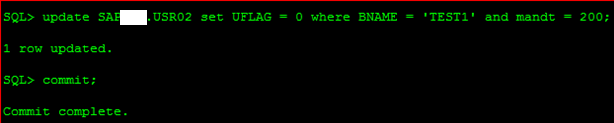 unlock SAP user at database level