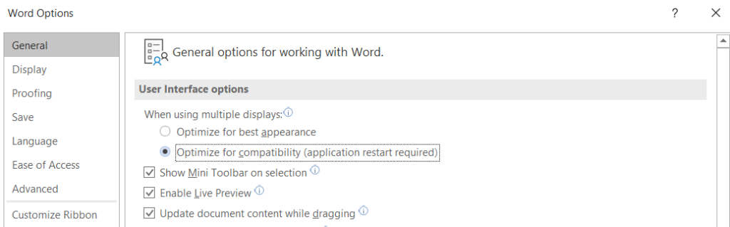 Microsoft Word Option optimize for compatibility