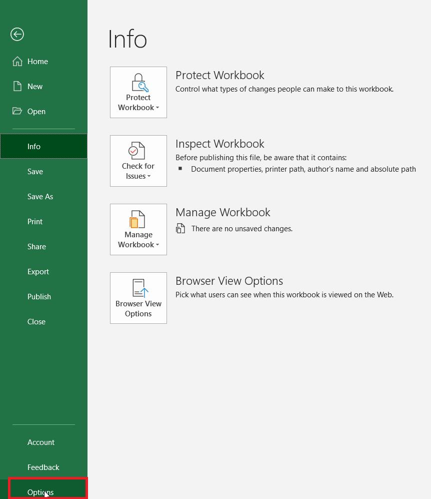 Microsoft Excel Options