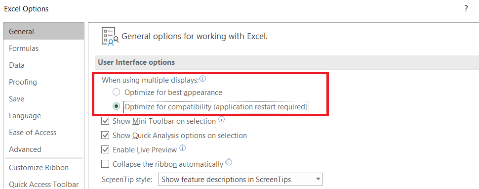 Microsoft Excel Option Optimize for Compatibility